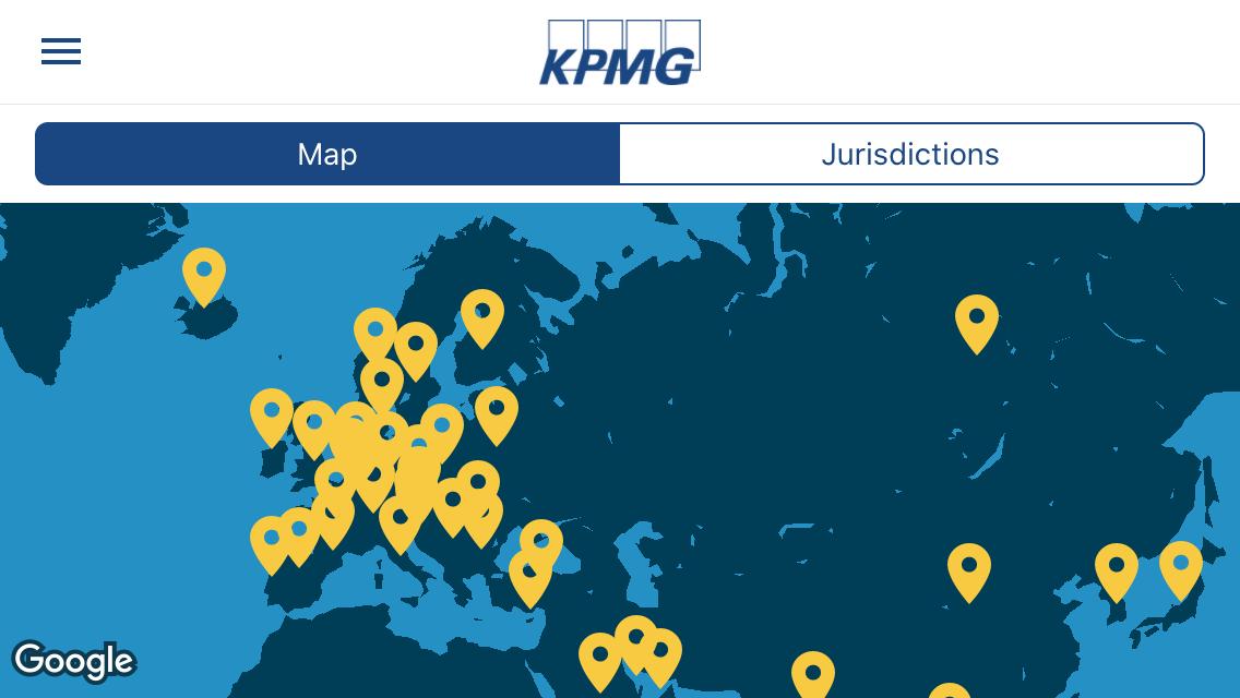 A képen az alkalmazás egy felülete látható, térkép, amely az Eurázsiai régió azt az 52 országát jelöli, amelyekről az alkalmazás az adójogi híreket közli.