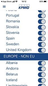 A képen az alkalmazás egy felülete látható, az országok listája.