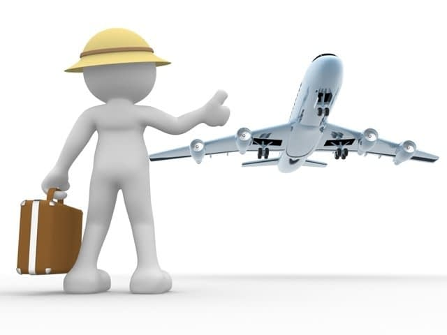 3d people - human character, person with a suitcase and a airplane. Concept of travel. Hitchhiking. 3d render