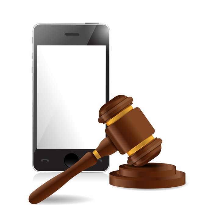 phone and law hammer illustration design over a white background