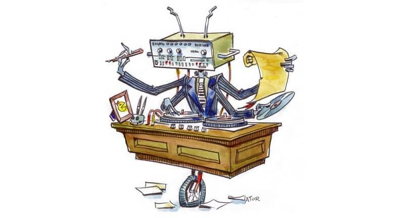 A képen egy vicces, multitasking munkavégzést folytató robot látható
