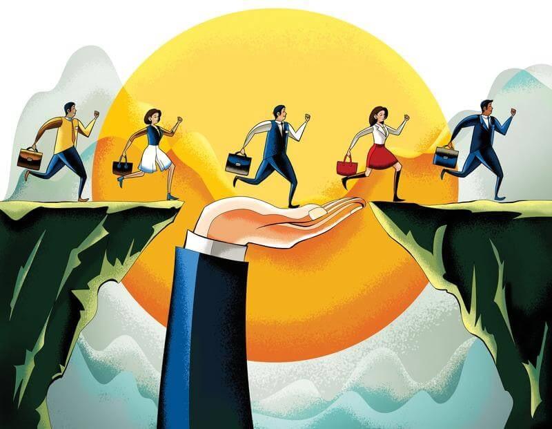 A képen a társadalombiztosítási rendszer stilizált ábrája látható. Egy kéz hidat képez az emberekek a szakadék fölött.